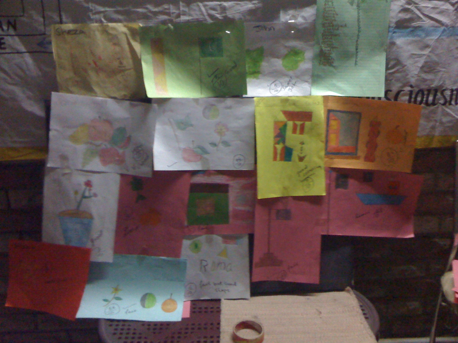 The students have finished a month of school and we have celebrated by posting their drawings throughout the classroom